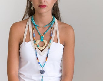 Turquoise Gold Pendant - Long Necklace - Bohemian Jewelry - Boho Necklace - Gift Wife - Funky Jewelry