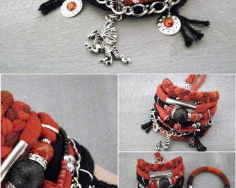 Red Black Bohemian Bracelet Boho Bracelet Set, Hippie Bracelet Dragon Charm, Hot Gypsy Jewelry Fiesta Bracelet
