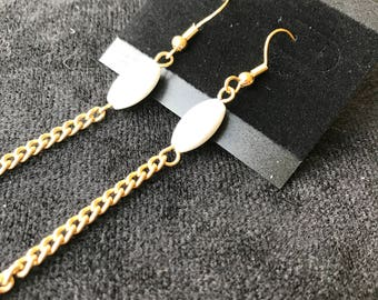 White Beads on a Gold Chain Earrings