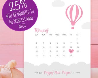 Personalised New Baby Details Pink Balloon Poster - 8x10 inches Print