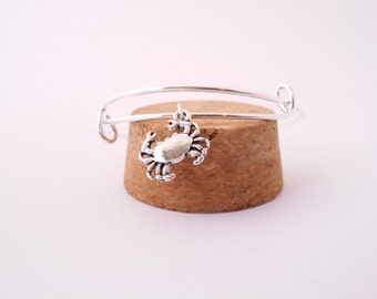 Silver crab bangle bracelet