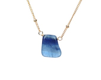 Kyanite necklace - blue kyanite necklace - crystal necklace - a drop of blue kyanite wire wrapped onto a 14k gold filled satellite chain