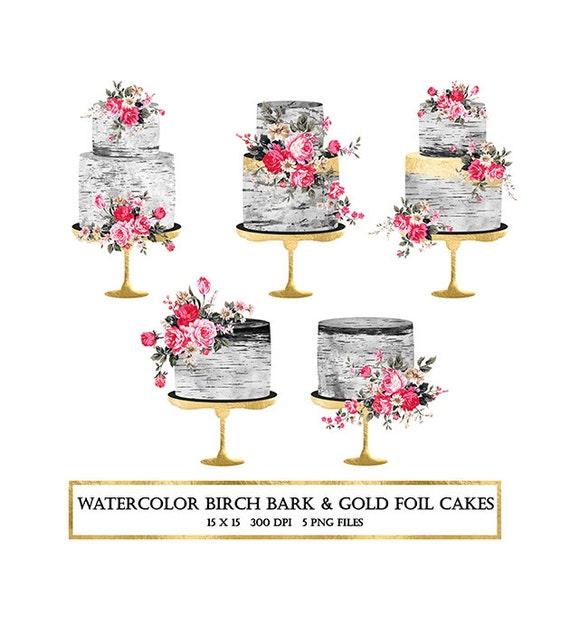Watercolor Cake Clipart Birch Cake Clipart Gold Foil Cake