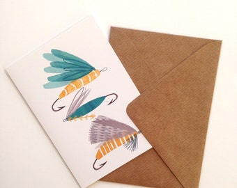 Greetings Card, Cards, Fly Fishing, Fly Fishing Gifts, Flies, Seaside, Coastal Decor, Fishing, For Him, Gifts for men