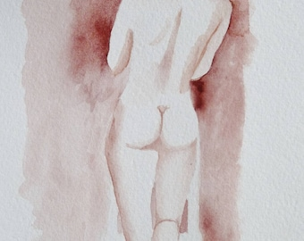 "SKETCH of female nude 29.5/21 cm ready to after a model living professional ""SABRINA"""
