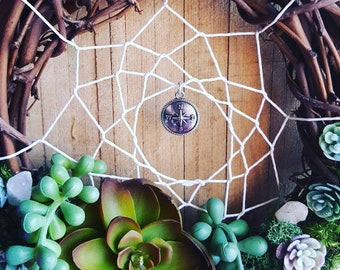 Wanderlust Compass Succulent and Moss Dreamcatcher with Handpicked Quartz 7""