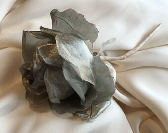 Vintage Silver Rose Corsage - 1950s
