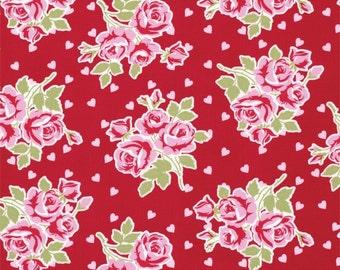 SALE Tanya Whelan Valentine Rose/ Falling Roses and Hearts  /Fabric Canada/ half yard