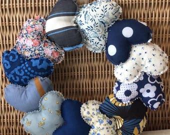 Handmade Sewn Rustic Padded 12 Heart Wreath Wall Hanging Blues