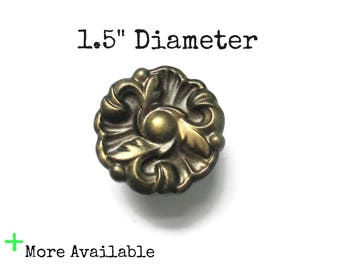 """Vintage French Provincial Drawer Knobs - 1.5"""" Diameter Pulls - More available - More colors"""