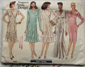 Vintage 1980s Vogue dress pattern, Vogue Basic Design 1940, size 8-10-12, 1987