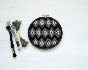 Monochrome hand embroidery Ikat pattern//6.7""