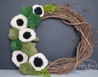 Succulent Anemone Felt Flower Wreath || Grapevine Wreath || Front Door Wreath || Mantel Wreath || Nursery Decor || Floral Decor