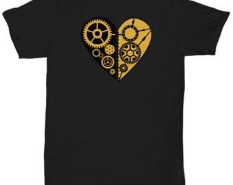 Machine Gear Heart Steampunk T-Shirt