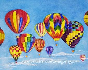Hot Air Balloon Painting, Hot Air Balloon Nursery Wall Art, Hot Air Balloon Print, Balloon Home Decor, Hot Air Balloons Watercolor, Balloons