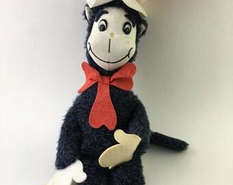 Vintage Cat in the Hat plush, Douglas Cat in the Hat, Cuddle Toys Cat in the Hat, 70s Cat in the Hat plush, Cat in the Hat stuffed animal