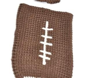 Bulky yarn baby football sleep sack and hat