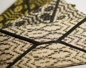 CLEARANCE SALE! Nicole Clutch - Handwoven Raffia Envelope Clutch  in Tribal Pattern Available in 3 Colours