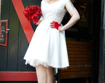 Bespoke Bridal Satin 50's Rock and Roll Rockabilly Wedding Dress