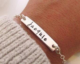 Bridesmaid Bracelet  - Silver Bar Bracelet - Personalized Jewelry - ID Bracelet - sterling silver - hand stamped jewelry