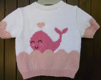 baby cotton sleeves short pattern whale handmade sweater