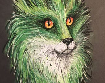 Pastel drawing. Sketch of a Green Fox with bright eyes.