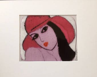 Lady in Red Hat with Black Hair