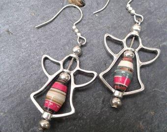 Paper Beaded Angel Earrings