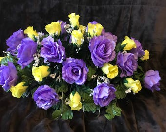 Cemetery Flowers / Grave site Flowers / Rose Headstone Saddle / Lavender and Yellow Roses ~ Mother's Day Flowers