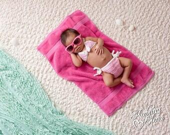 Newborn Girl Prop/ Baby Girl Bikini/ Crochet Bikini/ Newborn Bikini Photo Prop/ Beach Baby Prop/ Nautical Newborn Prop/ Pink and White Prop