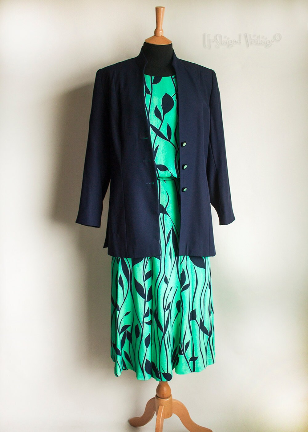 Vintage GINA BACCONI Navy and Jade Green Skirt Suit Top &
