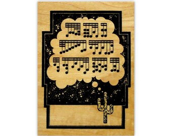 CACTUS / Desert Song mounted rubber stamp, music notes, art deco, fantasy, southwest, Sweet Grass Stamps #4