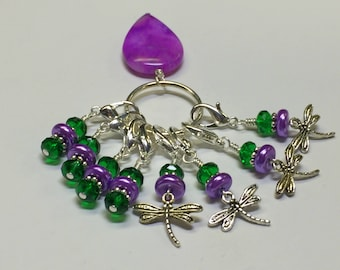 Purple Removable Beaded Clip On Knit and Crochet Markers - Dragonfly Knitting Stitch Markers - Gift for Knitters