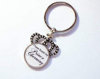 Prince Charming keychain, I have found my Prince Charming, Crown Keyring, key chain, stocking stuffer, keyring, keychain, Bride to Be (7792)