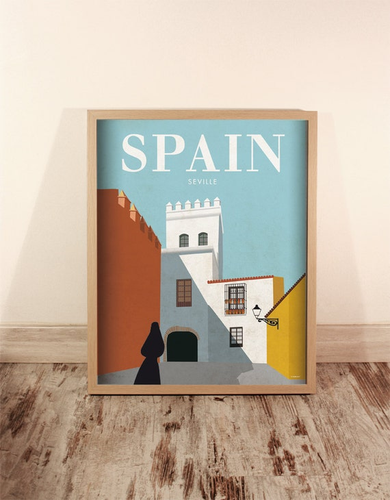Spain. Wall decor art. Poster. Illustration. Digital print. Wall art decor. Travel. 15,75x19,69 inch