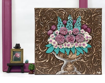 Floral Canvas Art Still Life Painting, Small Canvas Art, Textured Teal and Wine Sculpted Roses - 10x10