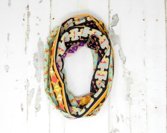 Aztec Floral Toddler Infinity Scarf, Child Infinity Scarf, Kid Infinity Scarf, Loop Scarf, Tube Scarf, Circle Scarf, Drool Scarf Bib