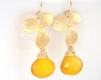 Yellow Earrings, Chalcedony Earrings, Gold Orchid Earrings, Flower, Citrine, Gold Filled Earrings, Bridesmaid Gifts, Bridesmaid Earrings