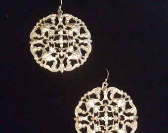 Silver Tone Filigree Medallion Earrings