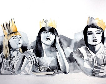Original Watercolor Painting. Portrait painting of a beautiful  young Girls with Crowns. Crowns of gold. Portrait of friends eating cake.