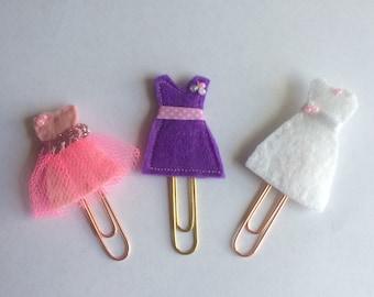 Set of 3 Felt vintage style dresses planner clips