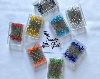 Glass Head Quilting Pins, Set of 100