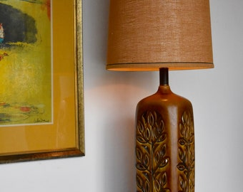 Vintage Ceramic Lamp with Leaf Cutouts