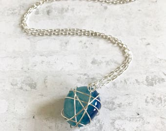 Ombré Blue Stone Silver Wire Wrapped Necklace