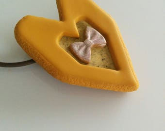 """Yellow ocher heart"" pendant"
