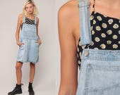 Denim Overall Shorts 90s Jean Shorts Bib Shortalls Romper Playsuit Grunge Suspender Light Blue Woman 1990s Vintage Extra Large xl