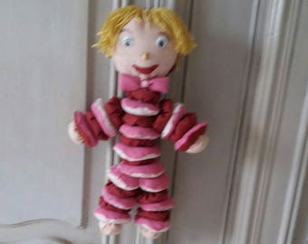 Marionette in fabric and batting to hang
