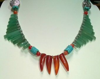 Aventerine, Carnelian, Turquoise Necklace and Earrings