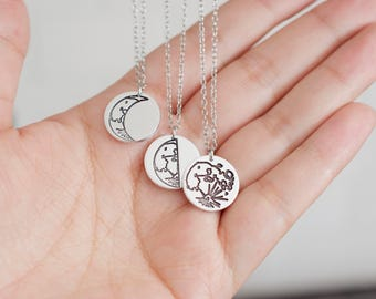Moon Necklace - Celestial Necklace - Sterling Necklace - Crescent, Quarter, Full Moon - Moon Charm - Gift for Her, Women, Mom