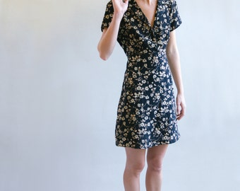 80's Black Floral Print Dress With Tie Back | Short Sleeve Dress | Collared Dress | Tie Back Dress | S-M-L